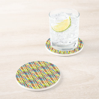 Modern Colourful Stripes Pattern Beverage Coasters