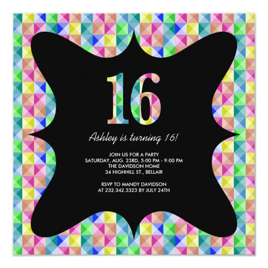 Modern Colourful Sweet 16 Invitations