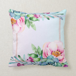 Modern Colourful Watercolors Flowers & Green Throw Pillow