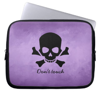 Modern Computer Sleeve, Don't Touch, Skull Design Laptop Sleeve