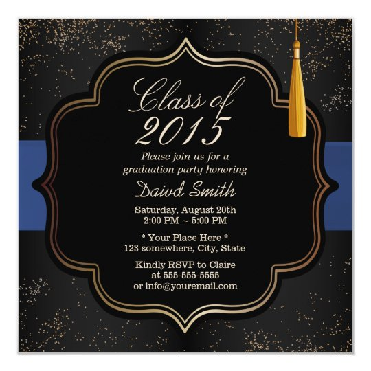 Modern Confetti Blue Ribbon Dark Graduation Party Card