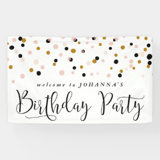 Modern Confetti Dots Birthday Party Banner