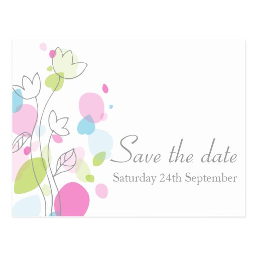Modern confetti flower petals save the date card post card