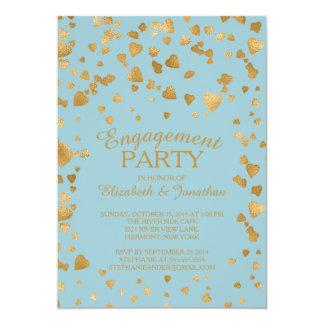 "Modern Confetti Heart Engagement Party Invitation 5"" X 7"" Invitation Card"