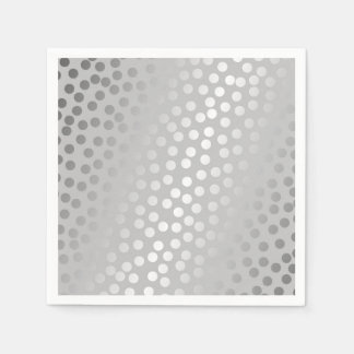 Modern Confetti Polka Dots Pattern Grey and Silver Disposable Serviettes