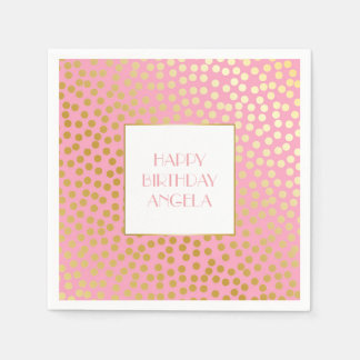 Modern Confetti Polka Dots Pink and Gold Paper Serviettes