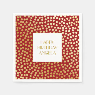 Modern Confetti Polka Dots Red and Gold Disposable Serviette