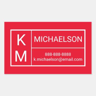 Modern | Contact Information Rectangular Sticker