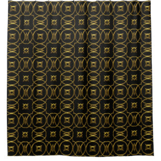Modern Contemporary Abstract Black Gold Pattern Shower Curtain