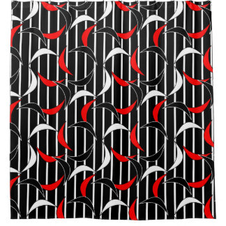 Modern Contemporary Abstract Black Red Pattern Shower Curtain