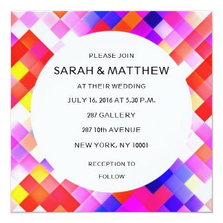 Modern Contemporary Abstract Geometric 13 Cm X 13 Cm Square Invitation Card