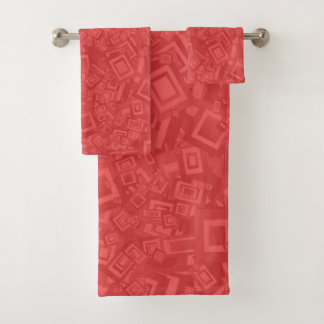 Modern Contemporary Abstract Red  Pattern Bath Towel Set