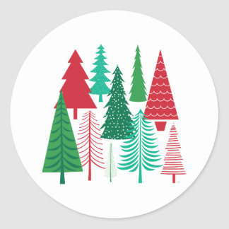 modern contemporary Christmas trees Classic Round Sticker