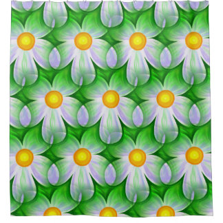 Modern Contemporary Daisy Pattern Shower Curtain