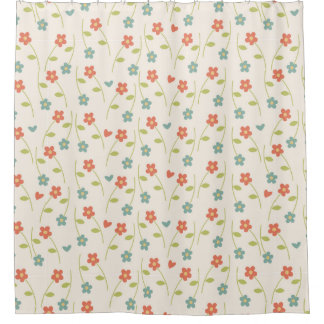 Modern Contemporary Floral Pattern Shower Curtain