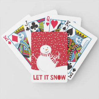 modern contemporary red and white snowman bicycle playing cards