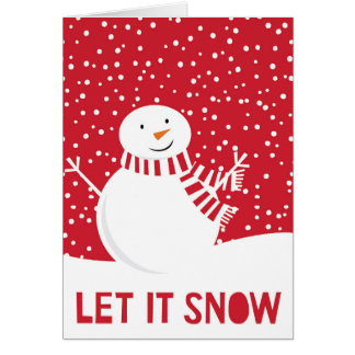 modern contemporary red and white snowman card