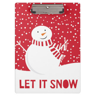 modern contemporary red and white snowman clipboard