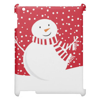 modern contemporary red and white snowman iPad covers
