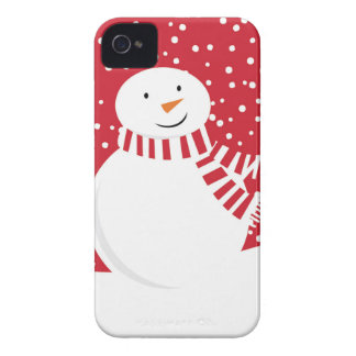 modern contemporary red and white snowman iPhone 4 case