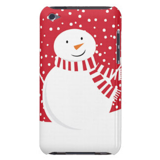 modern contemporary red and white snowman iPod Case-Mate case