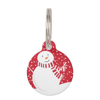 modern contemporary red and white snowman pet ID tag