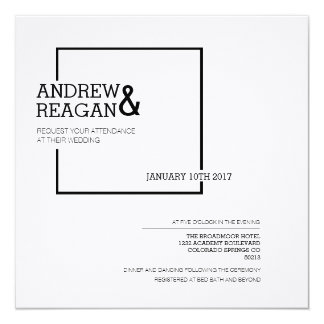 Modern Contemporary Square | Minimal Wedding 13 Cm X 13 Cm Square Invitation Card