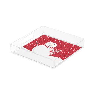 modern contemporary winter snowman acrylic tray