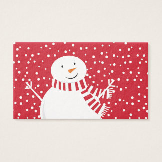 modern contemporary winter snowman business card