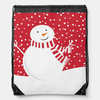 modern contemporary winter snowman drawstring bag