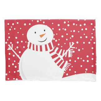 modern contemporary winter snowman pillowcase