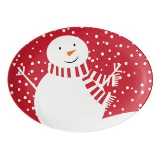 modern contemporary winter snowman porcelain serving platter
