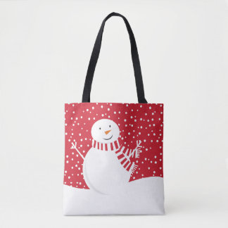 modern contemporary winter snowman tote bag