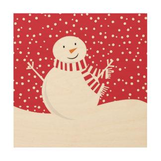 modern contemporary winter snowman wood print