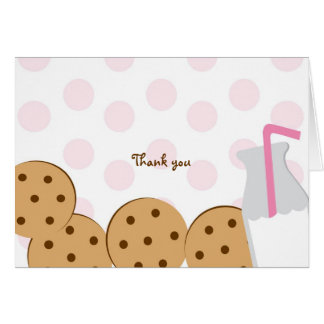 Modern Cookies and Milk Thank You Note Cards