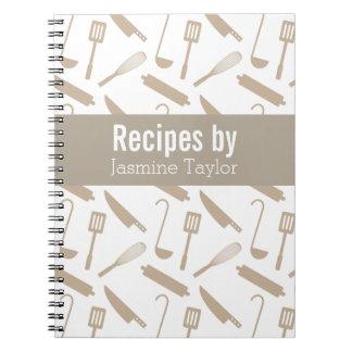 Modern Cooking Utensils Recipe Cook Book Spiral Note Books