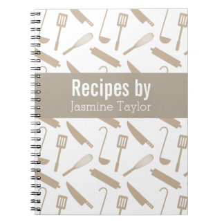 Modern Cooking Utensils Recipe Cook Book Spiral Note Books