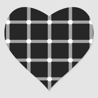 Modern Cool Black and White Optical Illusion Heart Sticker