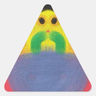 Modern cool face pattern triangle sticker