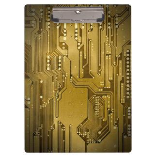 Modern Cool Gold Circuit Board High Tech Photo Clipboard