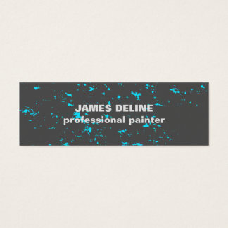 Modern Cool Grey Blue Abstract Pattern Painter Mini Business Card