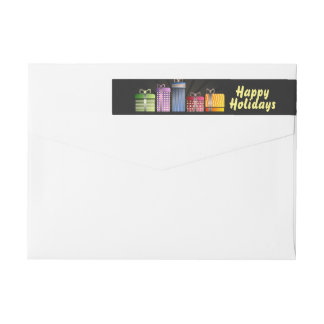 Modern & Cool Happy Holidays Black Wrap Around Label