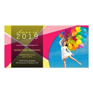 Modern Cool Hip Stylish Fun Criss Cross Graduation Custom Photo Card