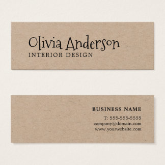 Modern Cool Minimal Kraft Interior Design Mini Business Card