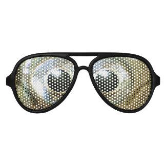 modern cool nerdy crazy crossed eyed goldfish eyes aviator sunglasses