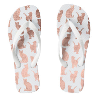 Modern cool rose gold cats pattern custom thongs