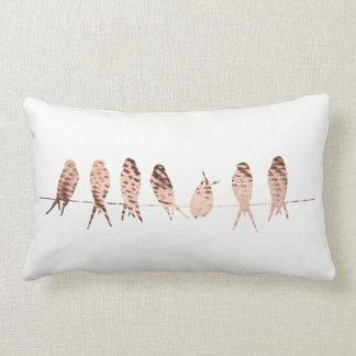 Modern Copper Birds on Wire Art | Lumbar Pillow