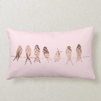 Modern Copper Birds on Wire Lumbar Pillow