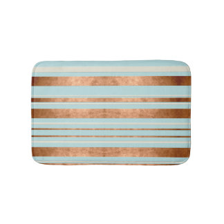 Modern Copper Stripe Robins Egg Blue Bath Mat