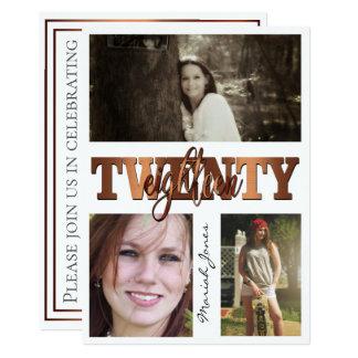 Modern Copper TwentyEighteen 3 Photo Graduation Card